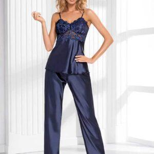 Donna Venus szatén pizsama, sötétkék