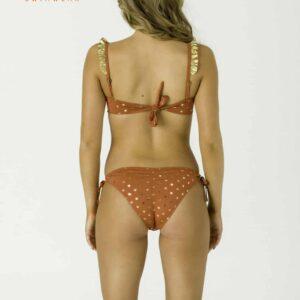 Carib arany pöttyös bandeau bikini, terra
