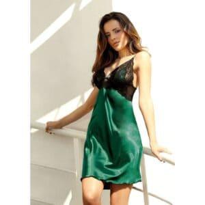 Dkaren Sophia szatén hálóing, smaragdzöld